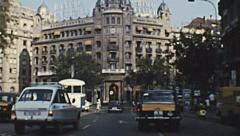 Barcelona 1973: driving in the street of the city Stock Footage
