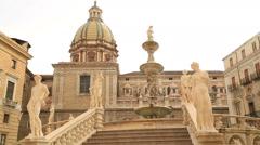 Piazza Pretoria or Piazza della Vergogna, Palermo, Sicily, Italy 7 Stock Footage