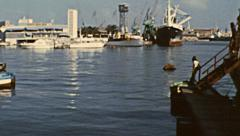 Barcelona 1973: boats docking in the port Stock Footage