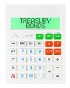 Calculator with TREASURY BONDS Stock Photos