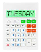 Calculator with TUESDAY - stock photo