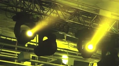 Stage Lights. Yellow rays of light Stock Footage