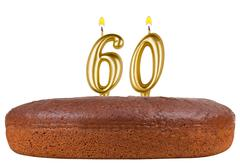 birthday cake with candles number 60 isolated - stock photo