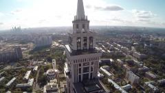 Aerial Of Highest Moscow Building. Triumph Palace. Sokol Stock Footage