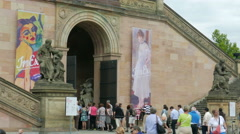 People waiting in a queue to the Old National Gallery in Berlin, Germany Stock Footage