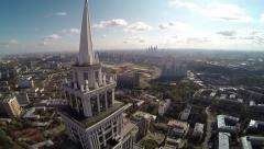 Aerial Of Highest Moscow Building. Triumph Palace. Sokol. Stock Footage