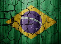 Brazil old dramatic cracked flag texture - stock illustration