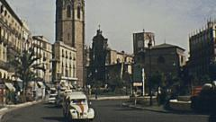 Valencia 1973: traffic in the street Stock Footage