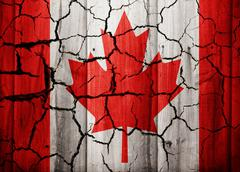 Stock Illustration of Canada old dramatic cracked flag texture