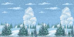 Stock Illustration of Seamless Christmas Winter Forest Landscape