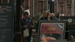 Walking near Grand Rocka restaurant in Berlin Stock Footage