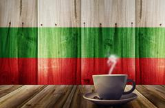 Stock Photo of cup of coffee with Bulgaria flag texture