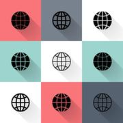 Black globe icon set - stock illustration