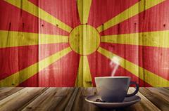 coffee and flag of Macedonia - stock photo