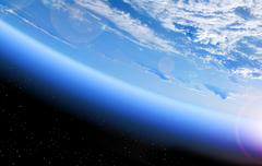 view of the Earth from space, blue planet and deep black space - stock photo