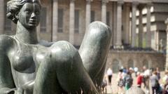 Victoria Square, Birmingham. Floozy statue. Stock Footage