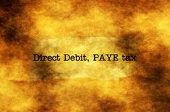 Debit, pay tax grunge concept Stock Photos