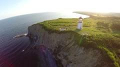 Cap Blanc Perce lighthouse in Gaspesie Stock Footage