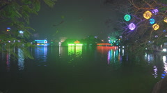 Lights at night, New Year in Ho Chi Minh City, North Vietnam - stock footage
