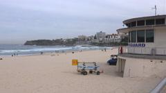 Bondi Beach and lifeguards building Stock Footage
