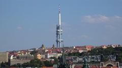 Zizkov Television Tower of Prague. Czech Republic Stock Footage