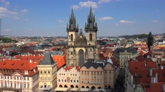 Church of Our Lady before Tyn with Old Town of Prague on background Stock Footage