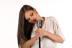 Karaoke Girl Singing , isolated on white background - stock photo