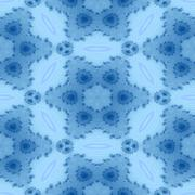 Seamless decorative blue kaleidoscope fractal wallpaper - stock illustration