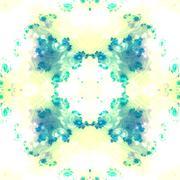 Watercolor imitation turquoise beige white seamless pattern - stock illustration