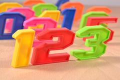 Colorful plastic numbers 123 - stock photo