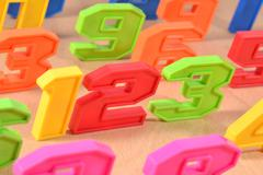 Colorful plastic numbers 123 Stock Photos