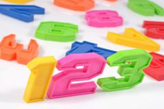 Colorful plastic numbers 123 on white background - stock photo