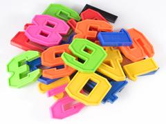 Colorful plastic numbers on a white - stock photo