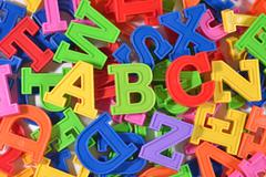 Plastic colored letters ABC Stock Photos