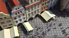 Top view of the Old Town Square in Prague from the Old Town City Hall Tower. Stock Footage