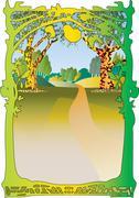 Woodland text frame - stock illustration