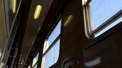Hallway in an old train wagon. - stock footage
