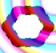 Stock Illustration of Colorful red blue pink orange hexagonal frame