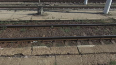 Stock Video Footage of Railway railroad track parallel, train motion, speed, fast, transport, travel