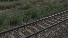 Stock Video Footage of Train railroad track parallel rail, point of view, speed, fast, railway travel