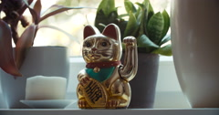 Maneki-neko Japanese Lucky Cat Stock Footage