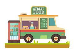Store fast food van Stock Illustration