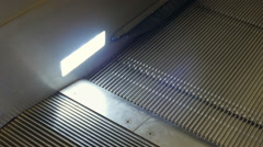 Moving staircase with light at train station. Stock Footage