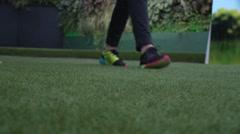 Walking on grass Stock Footage