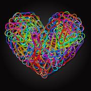colorful paper clips in heart shape - stock illustration