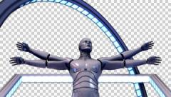 3D VITRUVIAN MAN CYBORG MODEL DESIGN ANIMATION frontal close-up. ALPHA CHANNEL. Stock Footage