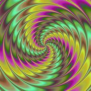 Faded yellow green purple brown decorative swirl with movement illusion - stock illustration