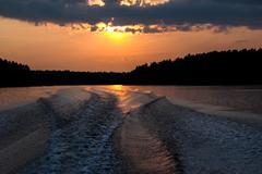 Boat Wake at Sunset Kuvituskuvat