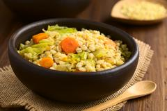 Wheat and Savoy Cabbage Stew - stock photo