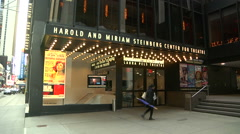 Harold and Miriam Steinberg Center for Theatre facade on Broadway [Broadway04] Stock Footage